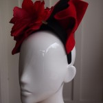 Sculptured Red Felt with Rose
