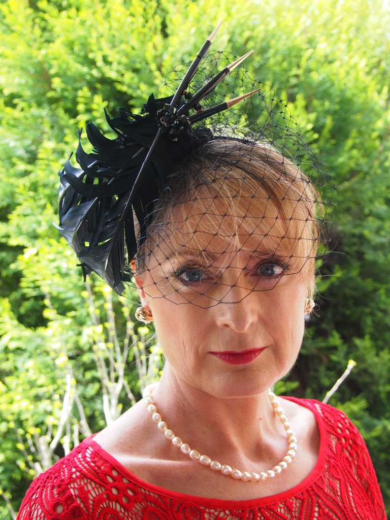 Trimmed Black Feathers with Gold tips and Lace Fascinator