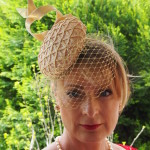 Gold Button with Siminary Twirls and Lace Fascinator $385