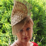 Gold Sculptured Headpiece with Pleated Tuille $385